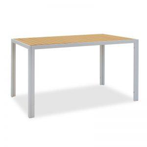 Tραπέζι κήπου Tessa pakoworld μέταλλο λευκό-φυσικό 140x80x75εκ