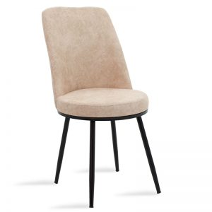 Καρέκλα Farell pakoworld ύφασμα μπεζ antique-μέταλλο μαύρο
