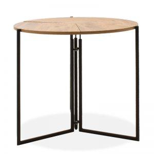 Τραπέζι Transform pakoworld πτυσσόμενο καρυδί-μαύρο Φ80x72.5εκ
